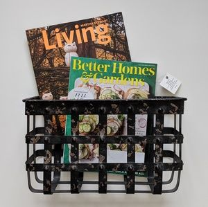 Other - Distressed farmhouse caged metal magazine holder